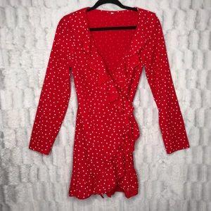 Other - No Brand Red Starry Stars Ruffle Trim Wrap Kimono